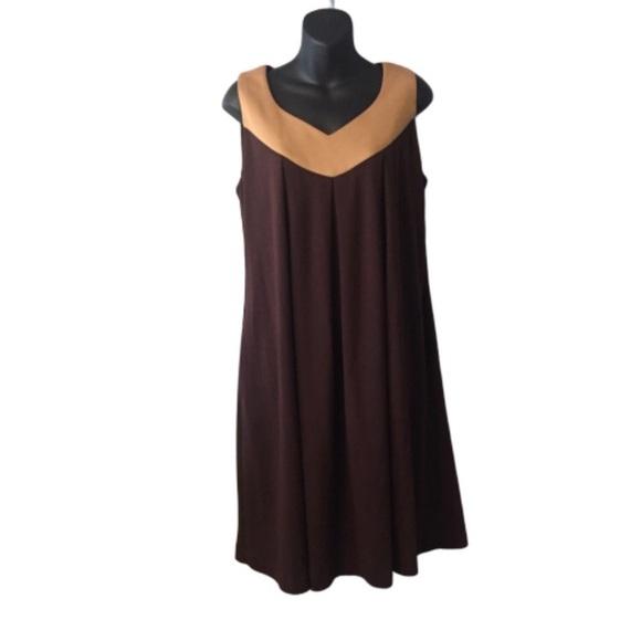 Sandra Darren Dresses & Skirts - Sandra Darren Brown and Tan Sleeveless Dress
